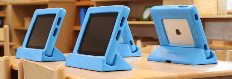 closeup of child ipads in classroom
